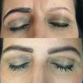 Before and After brow tint.