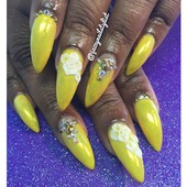 fairy dusted yellow gel polish with 3d flowers and bling accents